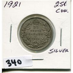 1921 CNDN SILVER 25 CENT PC