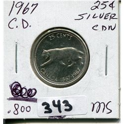 1967 CNDN CONFEDERATION SILVER QUARTER QUEEN ROTATED 15°
