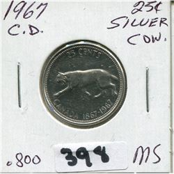 1967 CNDN CONFEDERATION CENTENNIAL SILVER QUARTER QUEEN ROTATED 15°