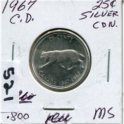 1967 CNDN SILVER QUARTER QUEEN TILTED 15°