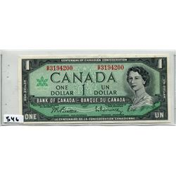 1967 CNDN CENTENNIAL ONE DOLLAR BILL