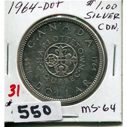 1964 CNDN SILVER DOLLAR CHARLOTTETOWN PEI 1864 CONFERENCE DOT
