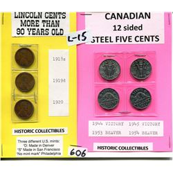 USA LINCOLN PENNIES & CNDN 12 SIDED STEEL NICKELS HISTORIC COLLECTIBLES
