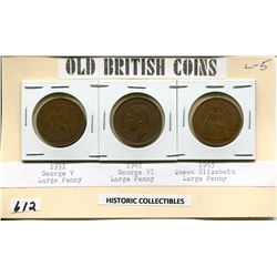 OLD BRITISH COINS 1931, 45, 65 HISTORIC COLLECTIBLES