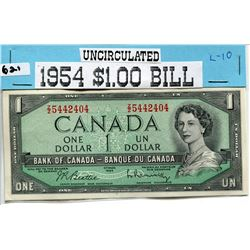 1954 CNDN ONE DOLLAR UNCIRCULATED NOTE