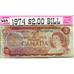 1974 CNDN TWO DOLLAR NOTE