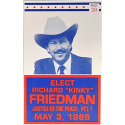 Kinky Friedman 1986 Justice Of Peace Poster