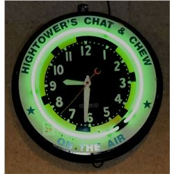 Jim Hightower's Chat & Chew Neon Clock
