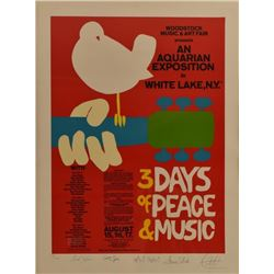 Signed Woodstock Concert Poster Lithograph
