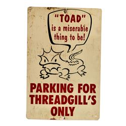 Threadgill's Parking Toad Sign