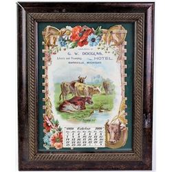 1900 die cut calendar advertising G.W. Douglas