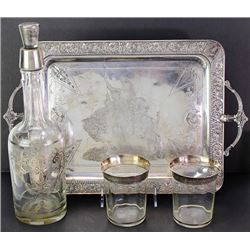 Liquor set includes silver overlaid bottle