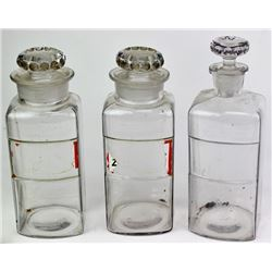 Collection of 3 antique pharmacy jars