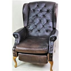 Buffalo leather upholstered wing chair