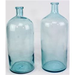 Collection of 2 antique large poison bottles,