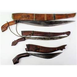 Collection of 3 Philipine knives with sheaths