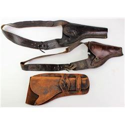 Collection of 3 old holsters includes