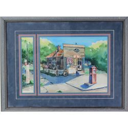 Watercolor of early gas station