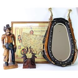 Collection of 4 includes horse collar mirror,