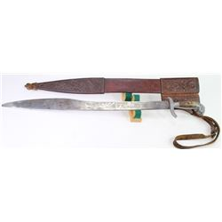 Mexican sword with tooled leather scabbard