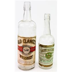 Collection of 2 antique whiskey bottle