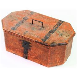 Early 19th C. coffin shape immigrants trunk