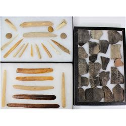 Collection of bone awls and pottery chards