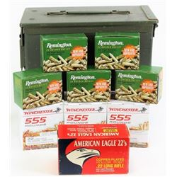 3100 rounds .22 cal. ammo with ammo box.
