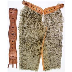 Minty childs white wooly chaps
