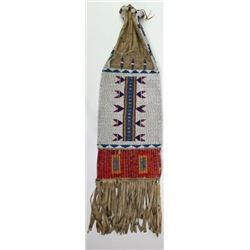 C. 1890's beaded quilled and fringed Sioux pipe