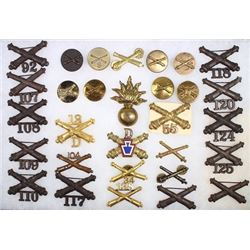 Collection of 30 military insignia pins