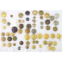 Collection of various military buttons