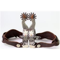 Large double mounted star stamped lady leg spurs