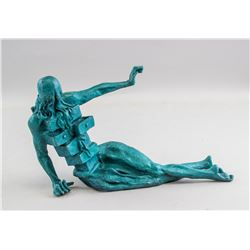 Bronze Sculpture Turquoise Painted Signed Dali