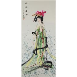 Lv Ji 20th Century Chinese Watercolor Scroll