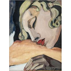 Polish Oil Woman Portrait Signed Lempicka
