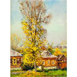 Artist Signed KPM Russian Oil on Canvas Landscape