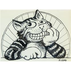 US Pop Art Ink on Paper Cat Signed Robert Crumb