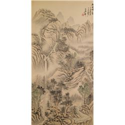 Dashi Chinese Watercolor Landscape Scroll