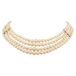 Four Strand Pearl Choker Necklace with Sterling Silver Clasp