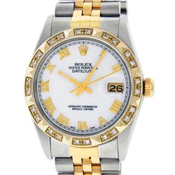 Rolex Mens 2 Tone 14K MOP Roman Pyramid Diamond Bezel Datejust Wristwatch