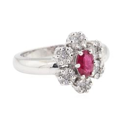 1.04 ctw Colored Stone And Diamond Ring - 14KT White Gold