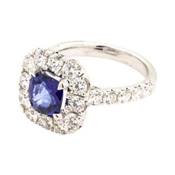 1.62 ctw Sapphire and Diamond Ring - 14KT White Gold