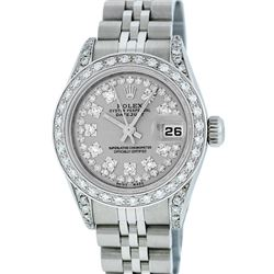 Rolex Ladies Stainless Steel Quickset Slate Grey Diamond Lugs Datejust Wristwatc