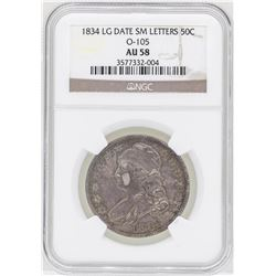 1834 Large Date Small Letters Capped Bust Half Dollar Coin NGC AU58