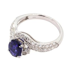 1.48 ctw Sapphire and Diamond Ring - 18KT White Gold