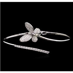 0.88 ctw Diamond Bangle Bracelet - 14KT White Gold