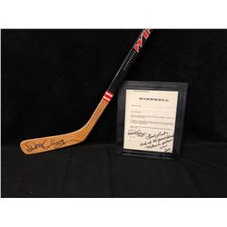 DON CHERRY SIGNED WINNWELL HOCKEY STICK AND SIGNED LETTER