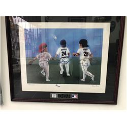 LIMITED EDITION 20 X 24 FRAMED HOME RUN PRINT SIGNED BY BONDS, GRIFFEY, LARKIN