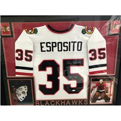 CUSTOM FRAMED 26 X 35 TONY ESPOSITO SIGNED BLACKHAWKS JERSEY (JSA COA)